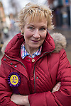 © Joel Goodman - 07973 332324 .  10/02/2014 . Sale , UK . Christine Hamilton outside the UKIP campaign office in Sale . Neil Hamilton , Deputy Chairman of UKIP , and his wife , Christine Hamilton , campaign for UKIP on the trail for the Wythenshawe and Sale East by-election , today (Monday 10th February 2014) . UKIP 's candidate , John Bickley , is widely predicted to come second . The election was called after the death of the Labour MP , Paul Goggins . Photo credit : Joel Goodman