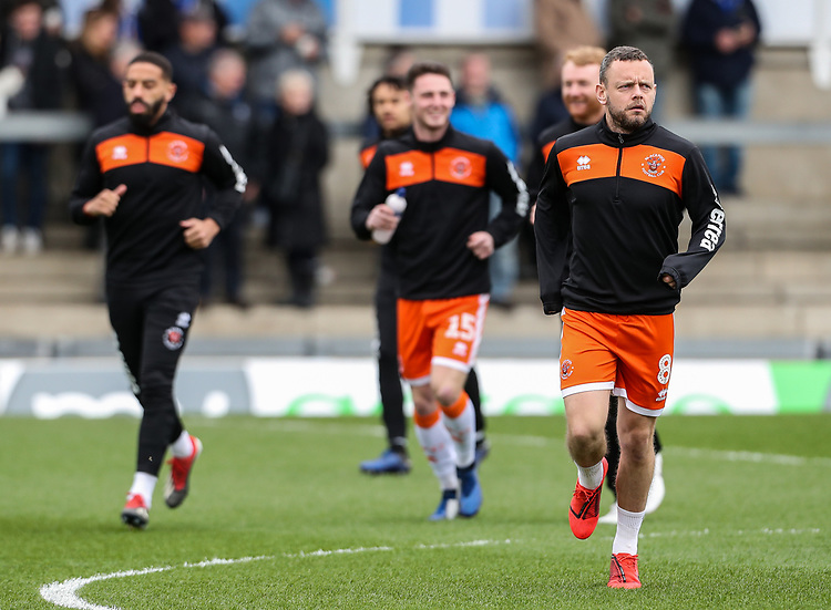 Blackpool's Jay Spearing warming up before the match <br /> <br /> Photographer Andrew Kearns/CameraSport<br /> <br /> The EFL Sky Bet League Two - Bristol Rovers v Blackpool - Saturday 2nd March 2019 - Memorial Stadium - Bristol<br /> <br /> World Copyright © 2019 CameraSport. All rights reserved. 43 Linden Ave. Countesthorpe. Leicester. England. LE8 5PG - Tel: +44 (0) 116 277 4147 - admin@camerasport.com - www.camerasport.com