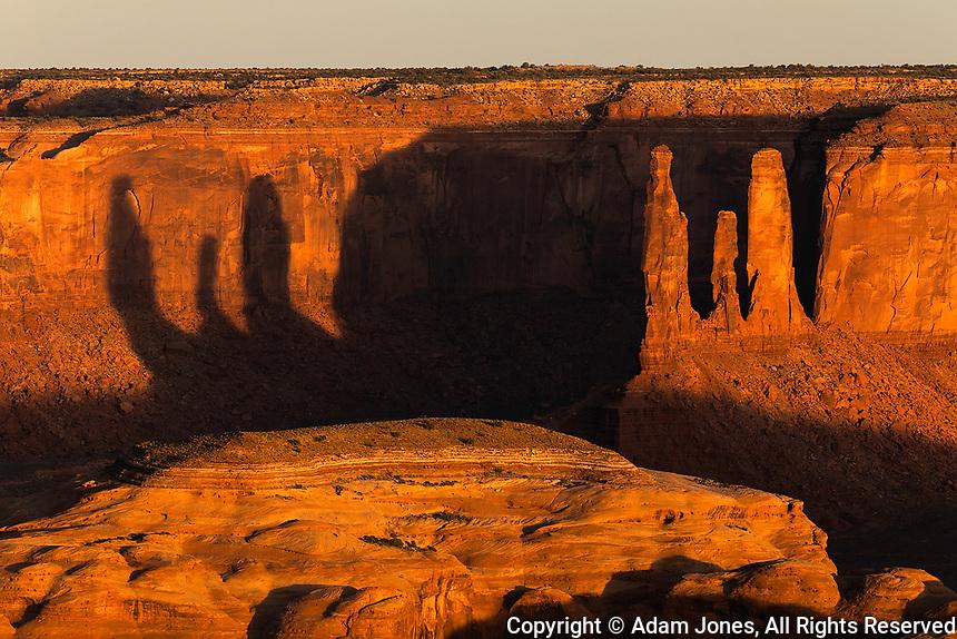 Three Sisters formation from Hunts Mesa, Monument Valley Tribal Park, Arizona