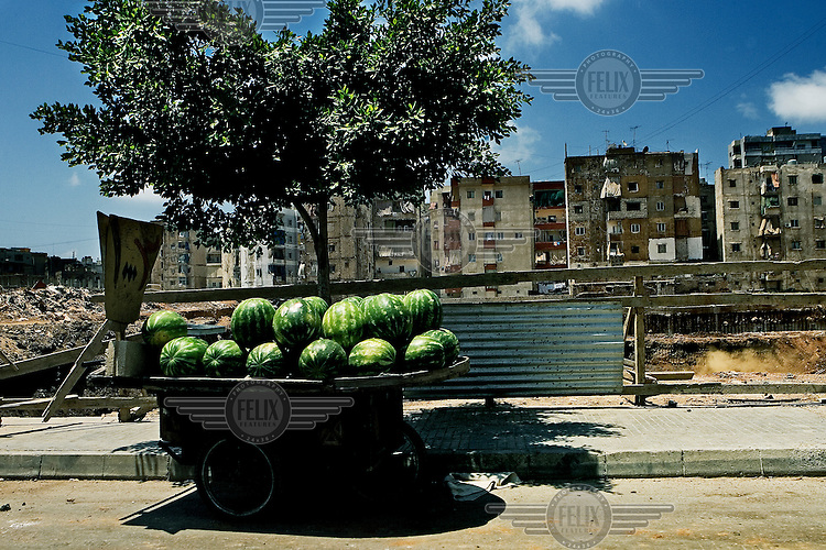 Watermelons for sale in the bombed out Haret Hreik suburb of Beirut.