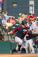 Right fielder Ryan Kalish of the Salem Red Sox hitting during a game against  the Myrtle Beach Pelicans on May 3, 2009