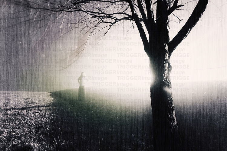 A woman standing in the mist behind a bare tree