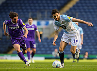 Blackburn Rovers' Ben Brereton gets away from Stoke City's Joe Allen<br /> <br /> Photographer Alex Dodd/CameraSport<br /> <br /> The EFL Sky Bet Championship - Blackburn Rovers v Stoke City - Saturday 6th April 2019 - Ewood Park - Blackburn<br /> <br /> World Copyright © 2019 CameraSport. All rights reserved. 43 Linden Ave. Countesthorpe. Leicester. England. LE8 5PG - Tel: +44 (0) 116 277 4147 - admin@camerasport.com - www.camerasport.com