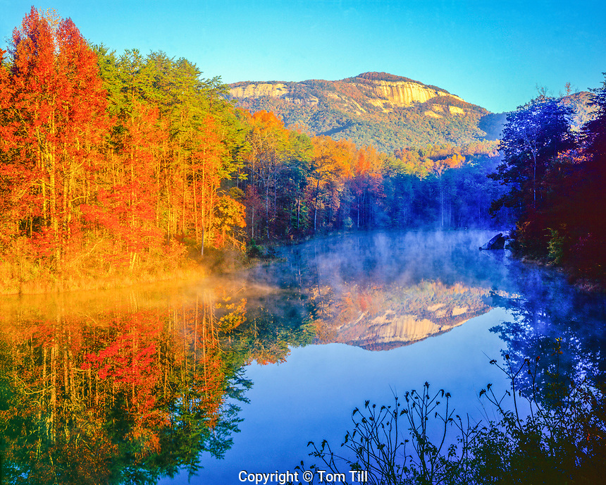 Table Rock reflection, Table Rock State Park, South Carolina, Lake Oolenoy, Southern Appalachian Mountains, Sunrise, October