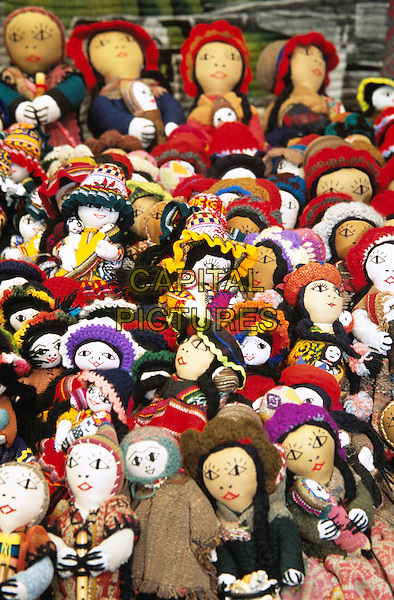 Colourful dolls on stall, Pisac Market, Pisac, near Cusco, Peru