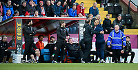 Fourth official Carl Boyeson guides Stevenage manager Dino Maamria back to the changing room after he was shown a red card by referee Jeremy Simpson<br /> <br /> Photographer Chris Vaughan/CameraSport<br /> <br /> The EFL Sky Bet League Two - Lincoln City v Stevenage - Saturday 16th February 2019 - Sincil Bank - Lincoln<br /> <br /> World Copyright © 2019 CameraSport. All rights reserved. 43 Linden Ave. Countesthorpe. Leicester. England. LE8 5PG - Tel: +44 (0) 116 277 4147 - admin@camerasport.com - www.camerasport.com