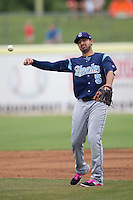 Corpus Christi Hooks second baseman Jio Mier (5) makes a throw to first base during the Texas League baseball game against the San Antonio Missions on May 10, 2015 at Nelson Wolff Stadium in San Antonio, Texas. The Missions defeated the Hooks 6-5. (Andrew Woolley/Four Seam Images)