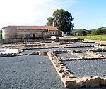 Excavated Roman town of Turobrigo and Ermita de San Mames at Aroche, Sierra de Aracena, Huelva province, Spain