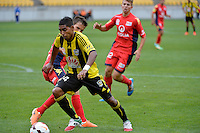 Roy Krishna and Isaias during the A League - Wellington Phoenix v Adelaide United, Wellington, New Zealand on Sunday 30 March 2014. <br /> Photo by Masanori Udagawa. <br /> www.photowellington.photoshelter.com.