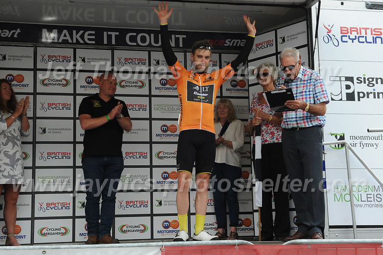 """Christopher Lawless is awarded the Orange Jersey during the Abergavenny Festival of Cycling """"Grand Prix of Wales"""" race on Sunday 17th 2016<br /> <br /> <br /> Jeff Thomas Photography -  www.jaypics.photoshelter.com - <br /> e-mail swansea1001@hotmail.co.uk -<br /> Mob: 07837 386244 -"""
