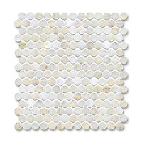 2 cm Pennyrounds shown in Cloud Nine (available in polished or honed finish) is part of New Ravenna's Studio Line of ready to ship mosaics.