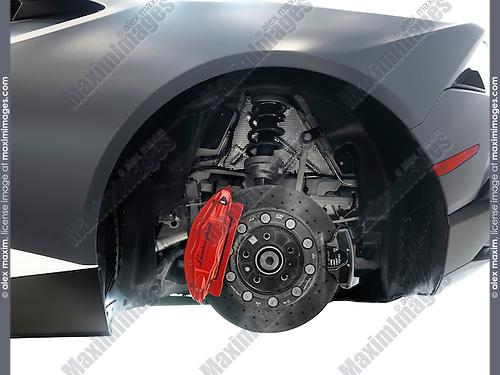 Closeup of Lamborghini sports car performance ceramic brakes, a disc and a caliper