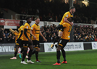 Newport County's Jamille Matt celebrates scoring the opening goal with team-mate Padraig Amond<br /> <br /> Photographer Kevin Barnes/CameraSport<br /> <br /> The EFL Sky Bet League Two - Newport County v Colchester United - Saturday 17th November 2018 - Rodney Parade - Newport<br /> <br /> World Copyright © 2018 CameraSport. All rights reserved. 43 Linden Ave. Countesthorpe. Leicester. England. LE8 5PG - Tel: +44 (0) 116 277 4147 - admin@camerasport.com - www.camerasport.com