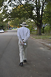Jackson, MS. 9/14/2015 Civi Rights Icon James Meredith walks South Jackson. Meredith is walking in poor black neighborhoods to raise awareness and pass out copies of the 10 Commandments. Meredith is walking for 55 days and today was day 26.Photo  ©Suzi Altman