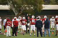 11 April 2007: Head coach Jim Harbaugh during spring practice at the practice field in Stanford, CA.