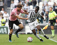 Calcio, Serie A: Juventus vs Palermo. Torino, Juventus Stadium, 17 aprile 2016.<br /> Juventus&rsquo; Paul Pogba, right, is challenged by Palermo&rsquo;s Andrea Rispoli during the Italian Serie A football match between Juventus and Palermo at Turin's Juventus Stadium, 17 April 2016.<br /> UPDATE IMAGES PRESS/Isabella Bonotto