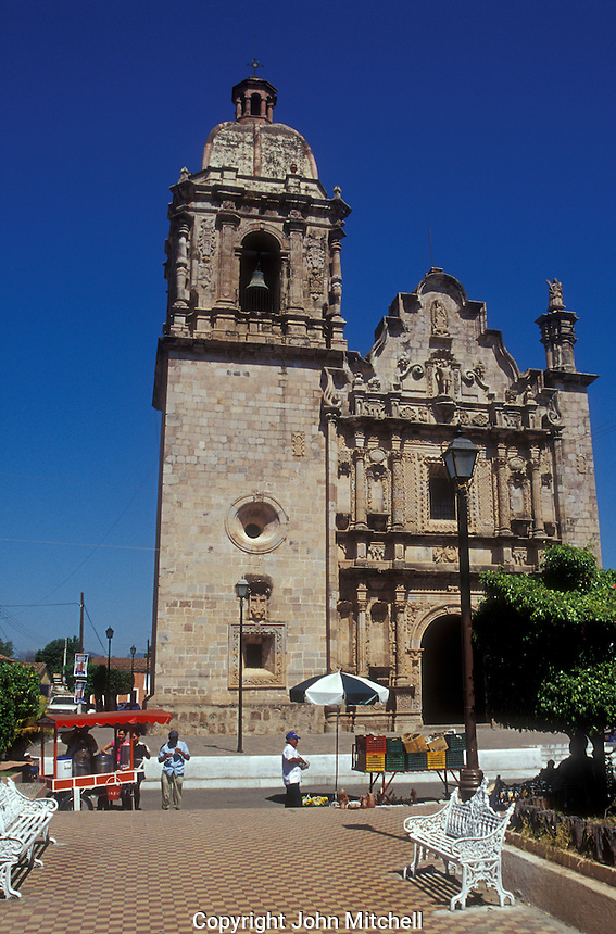 The 18th-century Church of San Sebastian and main plaza in the Spanish colonial mining town of Concordia near Mazatlan, Sinaloa, Mexico.