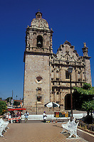 The 18th-century Church of San Sebastian and main plaza in the Spanish colonial mining town of Concordia near Mazatlan, Sinaloa, Mexico.