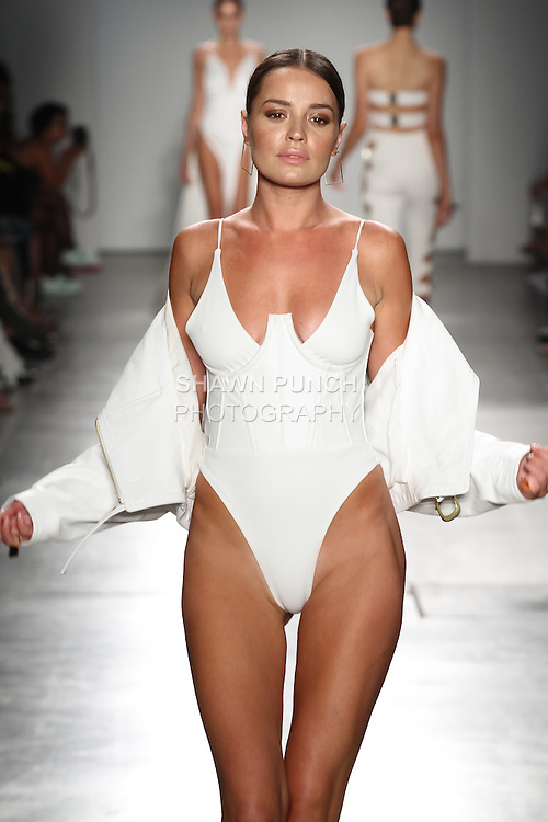 Model walks runway in resortwear from the Natalie Rolt Designs Spring Summer 2017 collection by Natalie Rolt, for the Fashion Palette Austrialian Swim Resort Spring Summer 2017 fashion show on September 8, 2016.