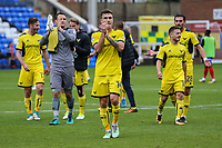 Josh Ruffels of Oxford United applauds the travelling fans  after victory in the Sky Bet League 1 match between Peterborough and Oxford United at the ABAX Stadium, London Road, Peterborough, England on 30 September 2017. Photo by David Horn.