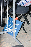 Campaign signs are seen in the audience area as Elizabeth Warren announces her candidacy for the 2020 presidential election at Everett Mills, site of the 1912 Bread and Roses strike, in Lawrence, Massachusetts, USA, on Sat., Feb. 9, 2019.