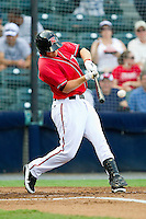 Wes Hodges #18 of the Richmond Flying Squirrels connects for a 2-out double against the Harrisburg Senators in game one of a double-header at The Diamond on July 22, 2011 in Richmond, Virginia.  The Squirrels defeated the Senators 3-1.   (Brian Westerholt / Four Seam Images)