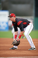 Batavia Muckdogs first baseman Sean Reynolds (15) during a game against the Williamsport Crosscutters on August 19, 2017 at Dwyer Stadium in Batavia, New York.  Batavia defeated Williamsport 11-1 in five innings due to rain.  (Mike Janes/Four Seam Images)