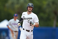 Johnny Aiello (2) of the Wake Forest Demon Deacons rounds the bases after hitting a home run against the Florida Gators in the completion of Game Two of the Gainesville Super Regional of the 2017 College World Series at Alfred McKethan Stadium at Perry Field on June 12, 2017 in Gainesville, Florida. The Demon Deacons walked off the Gators 8-6 in 11 innings. (Brian Westerholt/Four Seam Images)