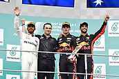 1st October 2017, Sepang, Malaysia;  FIA Formula One World Championship, Grand Prix of Malaysia, 44 Lewis Hamilton (GBR, Mercedes AMG Petronas F1 Team), 33 Max Verstappen (NLD, Red Bull Racing), 3 Daniel Ricciardo (AUS, Red Bull Racing), Sepang Malaysia celebrate on the podium