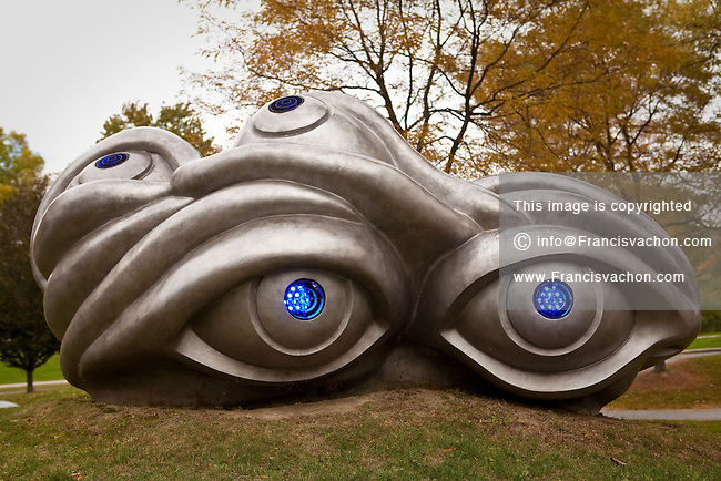 Eyes (nine elements) sculpture is pictured near Williams College Museum of Art in Williamstown, Massachusetts Thursday October 3, 2013. The granite, bronze, and electric light sculpture was made by Louise Bourgeois for the 75th anniversary of the museum.