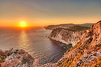 The famous sunset at Keri in Zakynthos island, Greece