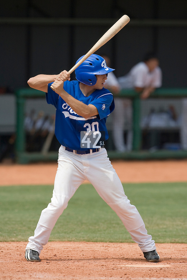 22 August 2007: Pierre Le Guillou is seen at bat during the Japan 9-4 victory over France in the Good Luck Beijing International baseball tournament (olympic test event) at west Beijng's Wukesong Baseball Field in Beijing, China.