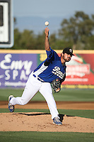 A.J. Vanegas (38) of the Rancho Cucamonga Quakes pitches during a game against the San Jose Giants at LoanMart Field on August 30, 2015 in Rancho Cucamonga, California. Rancho Cucamonga defeated San Jose, 8-3. (Larry Goren/Four Seam Images)