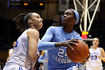 24 January 2016: North Carolina's Destinee Walker (right) and Duke's Faith Suggs (left). The Duke University Blue Devils hosted the University of North Carolina Tar Heels at Cameron Indoor Stadium in Durham, North Carolina in a 2015-16 NCAA Division I Women's Basketball game. Duke won the game 71-55.