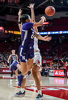 COLLEGE PARK, MD - JANUARY 26: Jordan Hamilton #24 of Northwestern turns and sends a past pst Stephanie Jones #24 of Maryland during a game between Northwestern and Maryland at Xfinity Center on January 26, 2020 in College Park, Maryland.