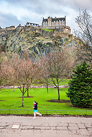 Edinburgh Castle seen from Princes Street Gardens, Scotland