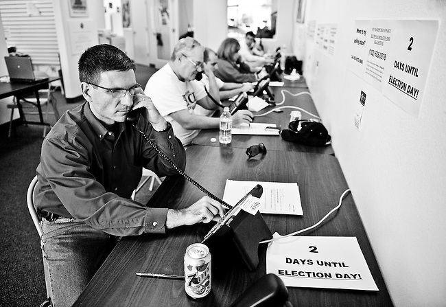 Nevada Republican candidate for Congress Dr. Joe Heck helps campaign volunteers call voters from his his campaign office in Las Vegas on Oct. 31, 2010. Dr. Heck defeated incumbant Rep. Dina Titus, D-Nev., two days later.