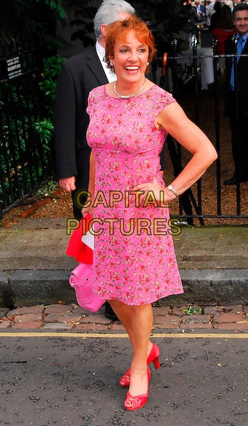 ESTHER RANTZEN .Sir David Frost Summer Party, Carlyle Square, London, UK..July 5th, 2006.Ref: CAN.full length hand on hip pink floral print dress dress sleeveless red shoes.www.capitalpictures.com.sales@capitalpictures.com.©Capital Pictures