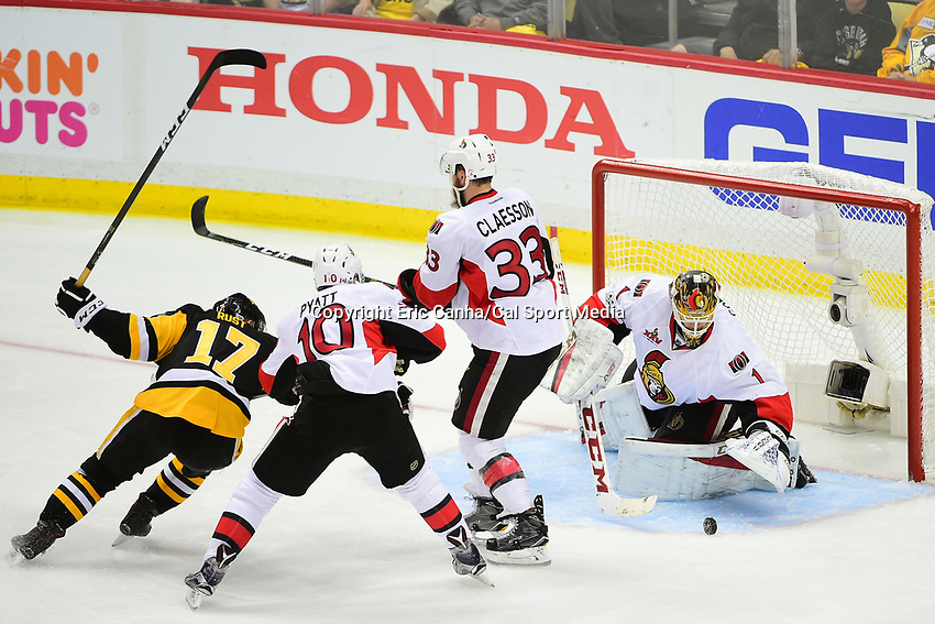 May 21, 2017: Ottawa Senators goalie Mike Condon (1) makes a save during game five of the National Hockey League Eastern Conference Finals between the Ottawa Senators and the Pittsburgh Penguins, held at PPG Paints Arena, in Pittsburgh, PA. Pittsburgh shuts out Ottawa 7-0 to lead the series 3-2.  Eric Canha/CSM