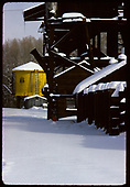 Coaling tower and tank in snow in Chama.<br /> D&amp;RGW  Chama, NM