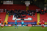 The full complement of Fleetwood Town FC fans ion attendance during the Sky Bet League 1 match between Charlton Athletic and Fleetwood Town at The Valley, London, England on 17 March 2018. Photo by Carlton Myrie.