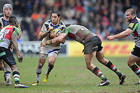 Horacio Agulla of Bath Rugby is tackled by Tom Guest of Harlequins during the Aviva Premiership match between Harlequins and Bath Rugby at the Twickenham Stoop on Saturday 13th April 2013 (Photo by Rob Munro)