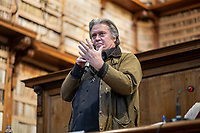 Rome, March 21, 2019. Former White House strategist Steve Bannon delivers his speech on the occasion of a meeting at Rome's Angelica Library. (Antonello Nusca/Polaris)