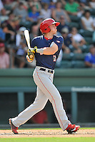 Second baseman Ian Sagdal (13) of the Hagerstown Suns bats in a game against the Greenville Drive on Sunday, July 17, 2016, at Fluor Field at the West End in Greenville, South Carolina. Hagerstown won, 3-2. (Tom Priddy/Four Seam Images)