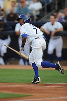 Fernando Perez #7  Center Fielder Durham Bulls (Rays) May 7, 2010 Photo By Tony Farlow/Four Seam Images