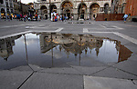 Reflection of Basilco di San Marco in St Marks square, Venice, Italy