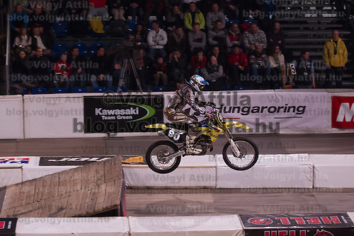 Balazs Ponya from Hungary competes during the Indoor Super Moto-Cross race in Budapest, Hungary on February 4, 2012. ATTILA VOLGYI
