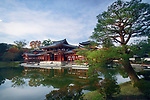 Beautiful Amida hall of Byodo-in temple on the pond of Jodo-shiki Pure Land garden in early morning sunrise scenery with bright blue sky. Uji, Kyoto Prefecture, Japan 2017 Image © MaximImages, License at https://www.maximimages.com
