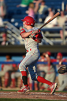 Williamsport Crosscutters second baseman Derek Campbell (9) at bat during a game against the Batavia Muckdogs on August 25, 2014 at Dwyer Stadium in Batavia, New York.  Batavia defeated Williamsport 3-0.  (Mike Janes/Four Seam Images)