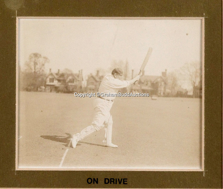 BNPS.co.uk (01202 558833)<br /> Pic: GrahamBuddAuctions/BNPS<br /> <br /> First textbook 'On Drive' (to the left of the bowler).<br /> <br /> Rare photographs capturing legendary cricketer W.G. Grace demonstrating perfect batting technique for the sport's first picture instruction manual have emerged more than a century after they were taken. <br /> <br /> The collection of images, which are believed to be the first ever of live-action cricket, were snapped between 1901 and 1904 for the book 'Great Batsmen: Their Methods at a Glance'.<br /> <br /> They show a middle-aged Grace, who played first-class cricket for a record 44 seasons and is widely considered to have been England's greatest player, expertly striking a series of shots that even Geoffrey Boycott would find it difficult to fault. <br /> <br /> And after being acquired by a private collector they are set to go under the hammer in London next month with a £7,000 estimate.